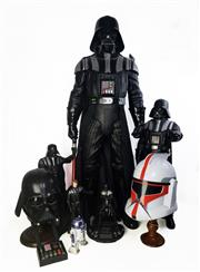 Sale 8968 - Lot 50A - Large Collection Of StarWars Blu Ray DVDs Various Sized Darth Vader Toys & Darth Vader & Storm Trooper Helmut In Working Order