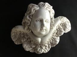 Sale 9175G - Lot 35 - Carved Marble Cherub/Angel Face Element . Size:35cm W