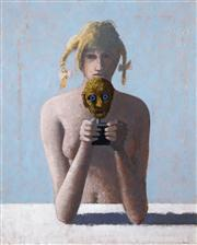 Sale 8526 - Lot 535 - Lawrence Daws (1927 - ) - Untitled (Girl and Mask) 59.5 x 75cm