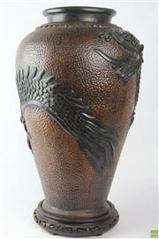 Sale 8603 - Lot 14 - Large Terracotta Dragon Motif Vase ( H 62cm x W 40cm)