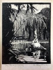 Sale 8671 - Lot 2007A - Lewis Roy Davies - The Pond, woodcut (laid down), ed. 35/50, 11.5 x 9cm, s.l.r -