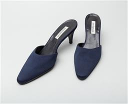 Sale 9092F - Lot 21 - A PAIR OF ANN TAYLOR MULE HEELS, Italian made in lustrous royal blue, size 7M