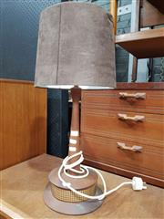 Sale 8723 - Lot 1037 - Teak Table Lamp with Dimmer Switch