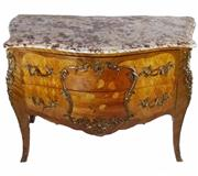 Sale 8828A - Lot 29 - A fine early 20th C  French commode with marquetry inlay and heavy bronze mounts and marble top. Overall size: 120 x 54 x 84