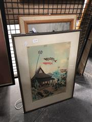 Sale 8819 - Lot 2138 - 2 Oriental Works: Artist Unknown - Kites, watercolour, SLL & Framed Fabric Picture of Horses, SUR -