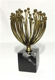 Sale 9015G - Lot 67 - Metal Waratah Sculpture On Marble Base . Size 24cm H.General Wear