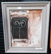 Sale 9019 - Lot 2013 - Artist Unknown, Rear Window, oil on board, frame: 40 x 35 cm, signed vero -