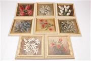 Sale 9052 - Lot 172 - Set of eight Pat Boyd Australian Flora themed oil on boards, all signed lower right (each frame size 20.5cm x 20.5cm)