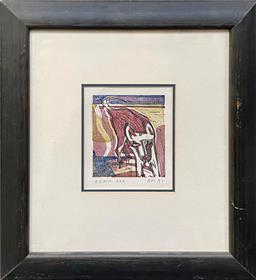 Sale 9127 - Lot 2033 - Richard Moore Beach Dog, woodblock print, 12 x 10.5 cm (frame: 41 x 48 cm), signed and dated lower left