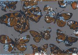 Sale 9252A - Lot 5041 - DAVID BROMLEY (1960 - ) Butterflies screenprint 71.5 x 100 cm (frame: 88 x 117 x 3 cm) signed lower left