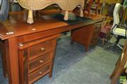 Sale 8383 - Lot 1463 - Pine Desk with Writing Pad Together with a Pair of Three Drawer Chests