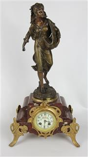 Sale 8425 - Lot 63 - French Spelter A.G. Moulin Figural Clock 'The Sower'