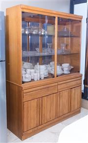 Sale 8593A - Lot 82 - A light oak and glass illuminating display case with four doors above two drawers, above two doors, H 194 x W 142 x D 48cm (Please s...