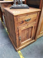Sale 8672 - Lot 1056 - Rustic Timber Bedside with Single Drawer & Door
