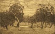 Sale 8696A - Lot 5006 - Jessie Constance Alicia Traill (1881 - 1967) - The Waterhole, 1922 24.5 x 40.5cm