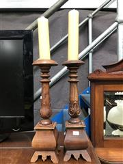 Sale 8822 - Lot 1243 - Pair of Turned Timber Candle Sticks