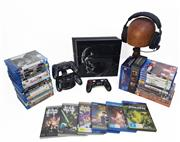 Sale 8968 - Lot 20A - Limited Edition Starwars Themed 1TB Ps4 & Controller With Another Pair Of Controllers Charging Dock & All Cords With Various Games &...