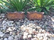 Sale 9015G - Lot 68 - Pair of Cast Iron Planters with Laurel Wreath Size: 29cm L x13cm H,General wear, Surface Rust,