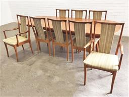 Sale 9129 - Lot 1091 - Parker nine piece dining setting incl. extension table & eight chairs, two being carvers (table - h:74 l:200 w:99cm)