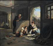 Sale 8526 - Lot 562 - C19th European School (XIX) - Playing with Kittens 47.5 x 55cm