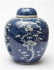 Sale 8590A - Lot 69 - An oversized blue and white ginger jar with prunus decoration, H 30cm