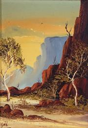 Sale 8730 - Lot 2067 - Henk Guth - Central Australian Gorge, oil on board, 33.5 x 23.5cm, signed lower left -