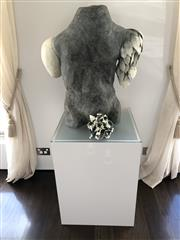 Sale 8782A - Lot 43 - Eugenie Draper Knight, Always come with flowers, H x 76cm, W x 72cm, Terracotta, height of plinth 76cm x 55sq