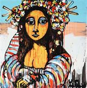 Sale 8968A - Lot 5034 - Yosi Messiah (1964 - ) - Mona With Flowers 85 x 85 cm