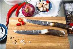 Sale 9240L - Lot 10 - Set of 2 Steak Knives - Antler Handles - USK Signature Jumbo