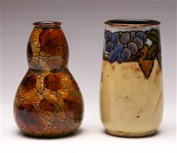 Sale 9131 - Lot 27 - A Royal Doulton Lambeth vase (H:15cm) together with another (H:15cm)