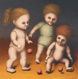 Sale 9212A - Lot 5009 - HANNA KAY (1947 - ) - Three Dolls 102 x 102 cm