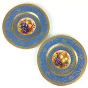 Sale 8607R - Lot 96 - George Jones & Sons Pair of Ceramic Cabinet Plates with Gilt Details Depicting Fruit (D: 23cm)
