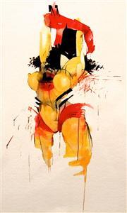 Sale 8657E - Lot 5050 - Anthony Lister (1979 - ) - Bat Web Girl 34 x 24cm (frame: 50 x 40cm)