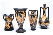 Sale 8701 - Lot 90 - Gouda Set Of Four Regina Black And Yellow Vases