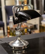 Sale 8709 - Lot 1045 - A Chrome Bankers lamp with a black glass shade