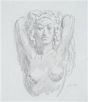 Sale 8892 - Lot 518 - Norman Lindsay (1879 - 1969) - Nude Portrait (sketch) 18 x 15.5 cm