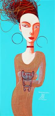 Sale 8959A - Lot 5043 - Constantine Popov (1965 - ) - Woman and Cat 59.5 x 29 cm (frame: 79 x 48 x 6 cm)