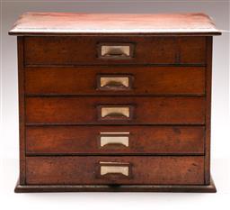 Sale 9122 - Lot 68 - Early 20th Century Cedar Five Drawer Filer (H:40cm W: 51cm D:36cm)