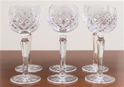 Sale 9140H - Lot 49 - A set of six Bohemian hand cut lead crystal hock wine glasses, Height 18.5cm