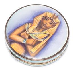 Sale 9160 - Lot 343 - A VINTAGE ENAMELLED SILVER COMPACT; 50mm round enamelled guilloche compact, top hand painted with image of Pharaoh, base not enamell...