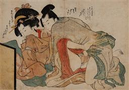 Sale 9161A - Lot 5076 - UTAGAWA SCHOOL - Apprentice courtesan and lover from unidentified series (early 1800s) 22 x 31 cm (frame: 43 x 58 x 3 cm)