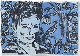Sale 9221JM - Lot 5057 - DAVID BROMLEY (1960 - ) Boy in interior screenprint 71.5 x 103 cm (frame: 88 x 120 x 3 cm) signed lower left