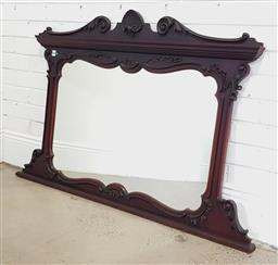 Sale 9196 - Lot 1038 - Late Victorian/ Edwardian Mahogany Overmantle Mirror, with shell & swanneck top, shaped mirror & bracket base (h:88 x w:120cm)