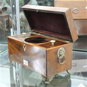 Sale 8304 - Lot 42 - Victorian Inlayed Tea Caddy on Claw Feet