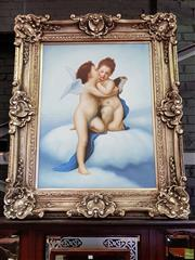 Sale 8576 - Lot 1098 - Artist Unknown Young Amor & Psyche, acrylic on synthetic canvas, in elaborate frame (framed 165 x 135cm)
