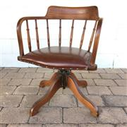 Sale 8607R - Lot 97 - Timber Captains Chair with Red Leather Seat (H: 76cm)