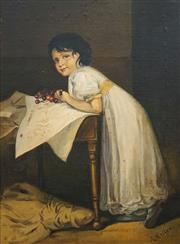 Sale 8704 - Lot 589 - R. Keller - Girl Eating Cherries 37 x 28cm