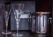 Sale 8891H - Lot 23 - An EP champagne cooler together with two Royal Doulton champagne flutes