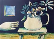 Sale 8996A - Lot 5009 - Charles Blackman (1928 - 2018) - Hand & Vase of Flowers 112 x 177 cm
