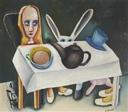 Sale 9081A - Lot 5050 - Charles Blackman (1928 - 2018) - Feet Beneath the Table 105.5 x 122 cm (frame: 108 x 124 x 4 cm)